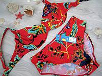 Купальник женский раздельный яркий красный, плавки выше средней посадки