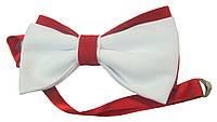 Галстук бабочка Atteks бело-красная - 1224