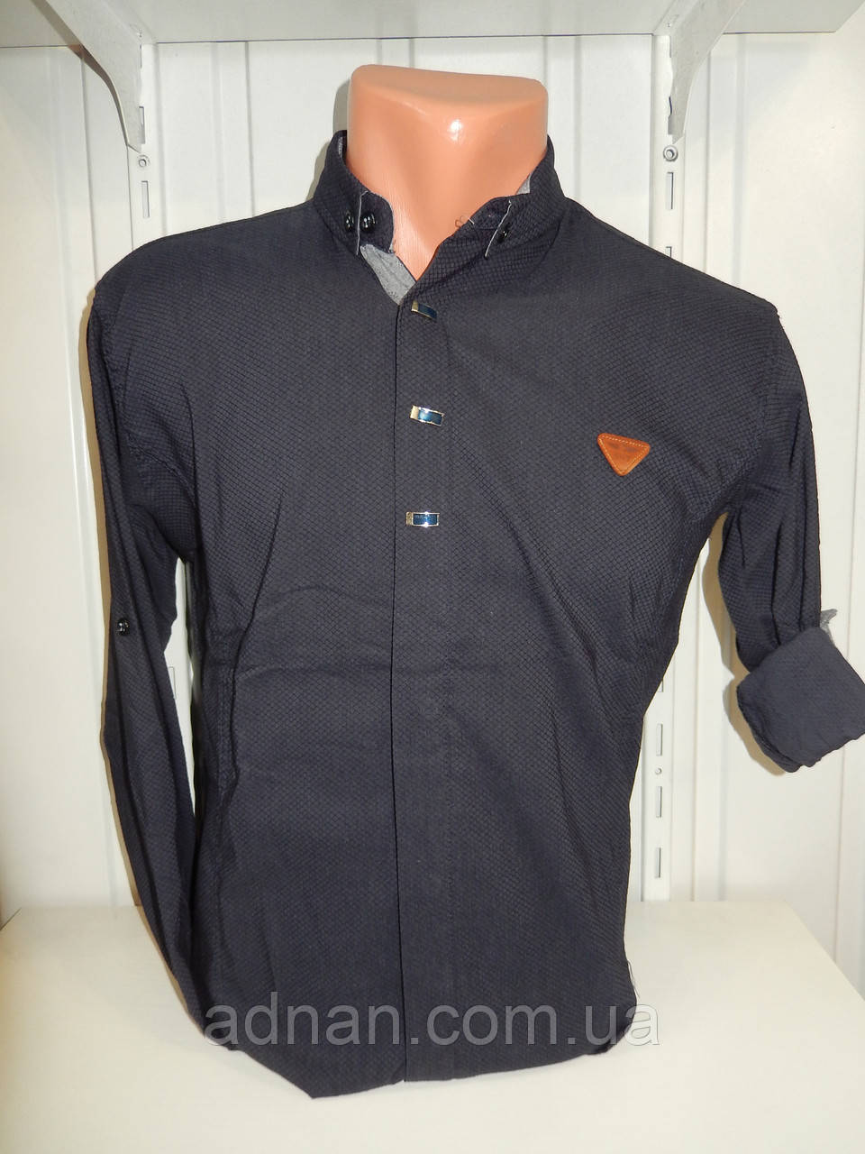 Рубашка мужская SPORT длинный рукав, мелкий узор, стрейч 009 \ купить рубашку