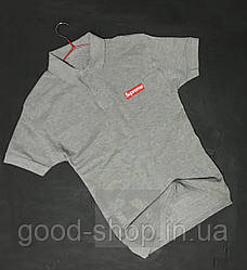 Мужское поло Supreme серого цвета (люкс копия)