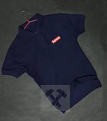 Мужское поло Supreme синего цвета (люкс копия)