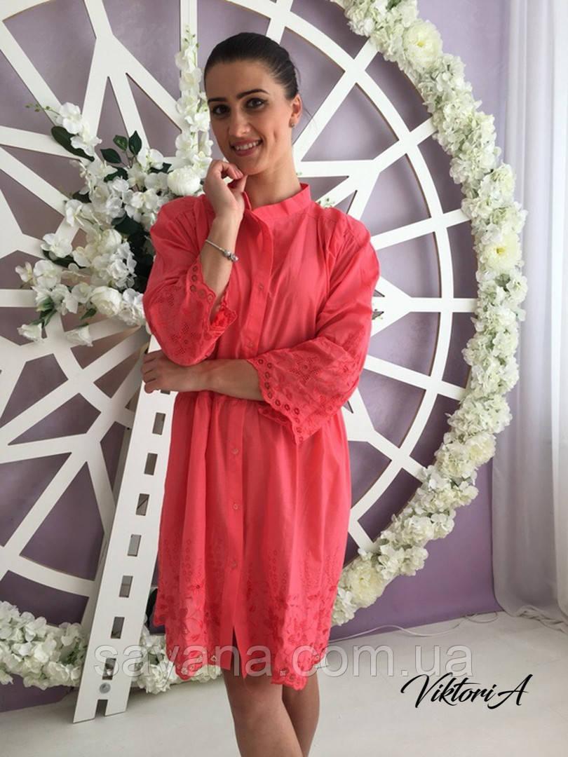 Женское платье-туника с узором-вышивкой в расцветках. ВИ-2-0818
