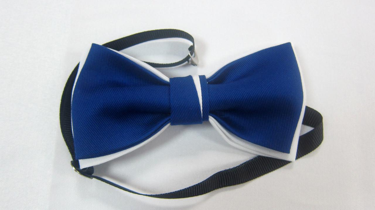 Галстук бабочка Atteks бело-синяя - 1228