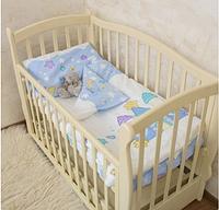 """Красивый комплект постельного для детской кроватки """"Замок"""" Поплин, голубой"""