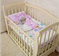 """Красивый комплект постельного для детской кроватки """"Замок"""" Поплин, розовый"""