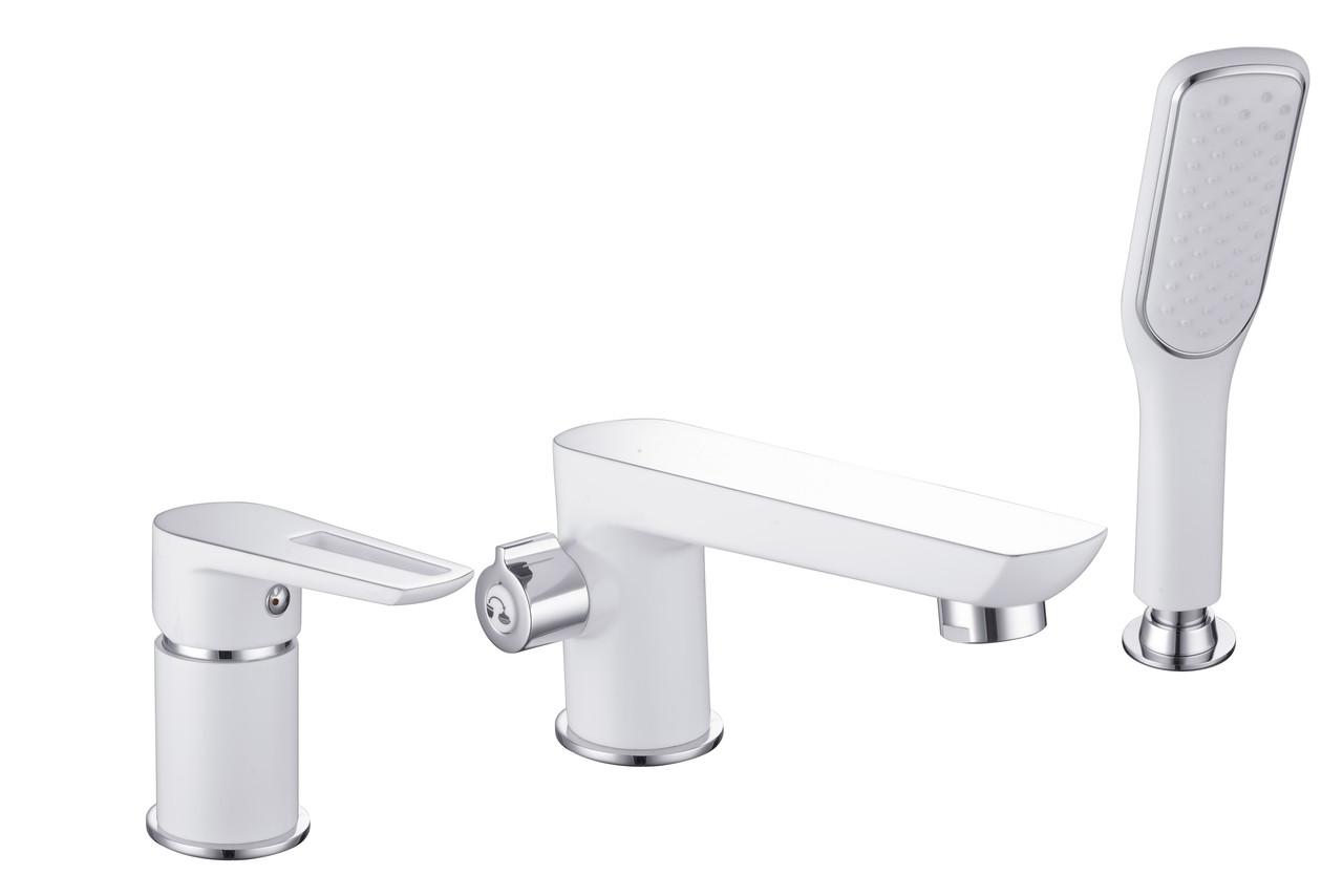 Смеситель для ванны врезной Imprese BRECLAV , на три отверстия, хром/белый