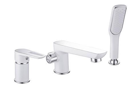 Смеситель для ванны врезной Imprese BRECLAV , на три отверстия, хром/белый, фото 2