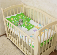"""Красивый комплект постельного для детской кроватки """"Замок"""" Поплин, салатовый"""