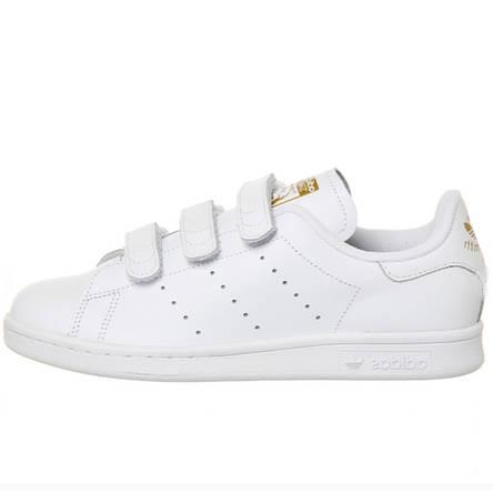 4feda3aefef Кроссовки женские Adidas Stan Smith на липучках (белые-золотые) Top replic