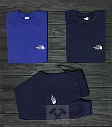Мужской комплект два свитшота и штаны The North Face синего цвета (люкс копия)