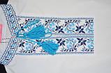 Вышиванка для девочки с коротким рукавом, голубой узор, фото 2