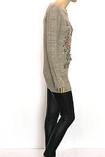 Вязана туніка джемпер з надписами і вишивкою, фото 3