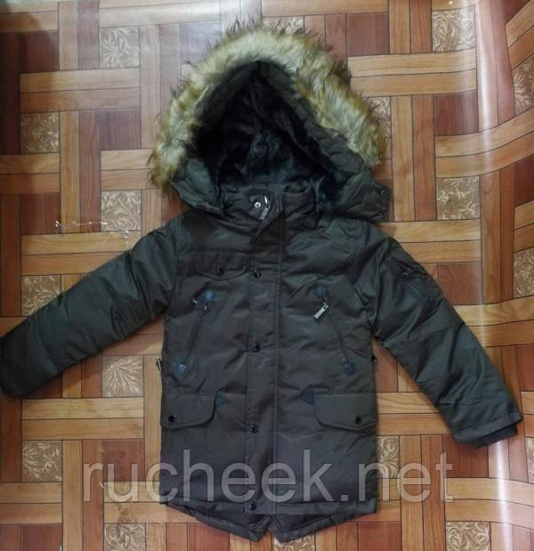 Куртка зимняя парка на меху для мальчика, рост 122- 140, Seagull CSQ-6