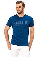 Синяя мужская футболка LC Waikiki / ЛС Вайкики с надписью на груди Maritime