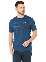 Синяя мужская футболка LC Waikiki / ЛС Вайкики с надписью на груди Yacht race