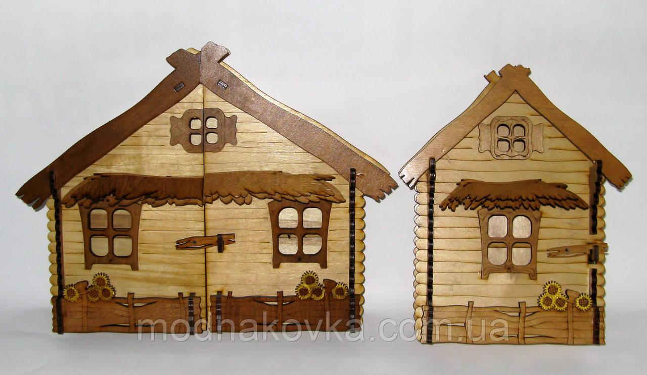 Ключница настенная деревянная Хата большая Подсолнухи