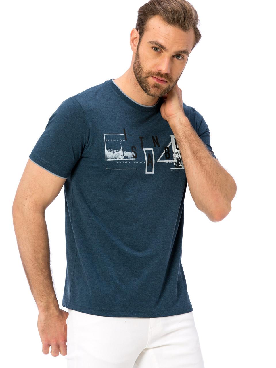 Синяя мужская футболка LC Waikiki / ЛС Вайкики с надписью на груди Istanbul