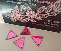 Пришивні дзеркала Rose (рожевий) Форма P08 - 16х16 мм Ціна за 1 шт, фото 1