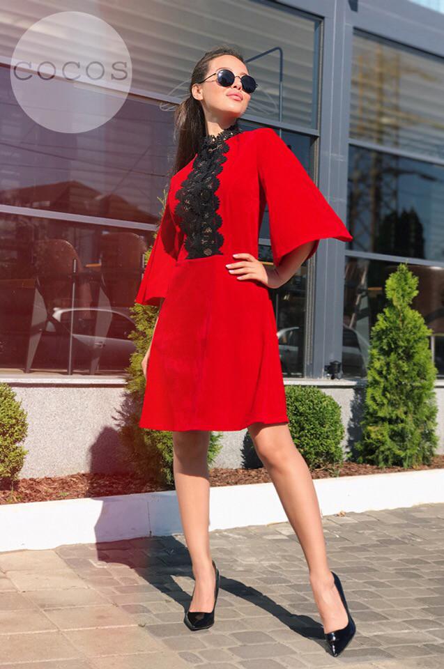 """Замшевое платье """"Аделаида"""" с дорогим кружевом , красного цвета код  524/8976"""