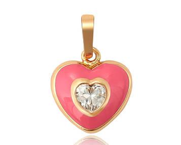 XUPING Кулон Позолота 18к сердечко с розовой эмалью и цирконом Высота 1,9см