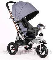 Azimut T-350 AIR детский серый трехколесный велосипед-коляска с фарой
