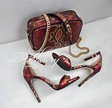 Женские красные босоножки из питона на шпильке, фото 6