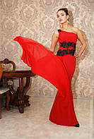 """Длинное вечернее платье на одно плечо """"Klara"""" с шифоновым шлейфом и болеро (5 цветов)"""