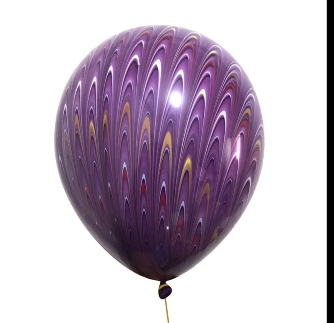 Повітряні латексні кулі супер агати павич фіолетовий 45см
