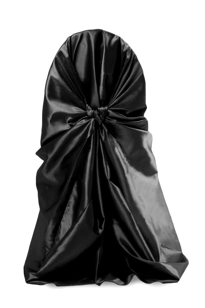 Чехол на стул Atteks атласный универсальный свадебный / банкетный черный - 1302
