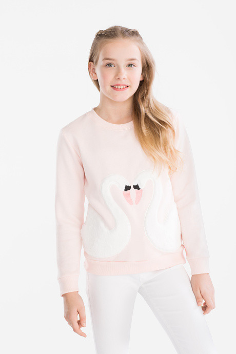 Розовый свитшот для девочки с лебедями C&A Германия Размер 146-152