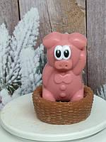 2019 год. Новогодний подарок в год свиньи родным и близким. Мылко в корзинке. Общий вес 250 г.