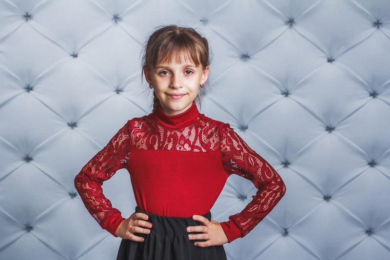 Блузка для девочки с длинным рукавом, бордо