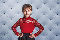 Блузка для девочки с длинным рукавом, бордо, фото 1