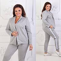 """Женский костюм """"Ариан"""" большие размеры от 48 до 54 пиджак и брюки серый код  524/8984"""