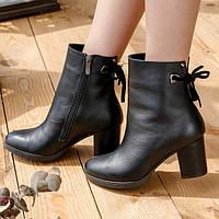 Женские ботинки 1975 Размер: 36-40 (черные) — кожаные ботильоны на каблуке 6 см
