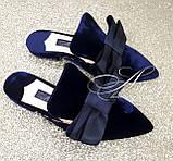 Женские синие бархатные мюли, фото 4