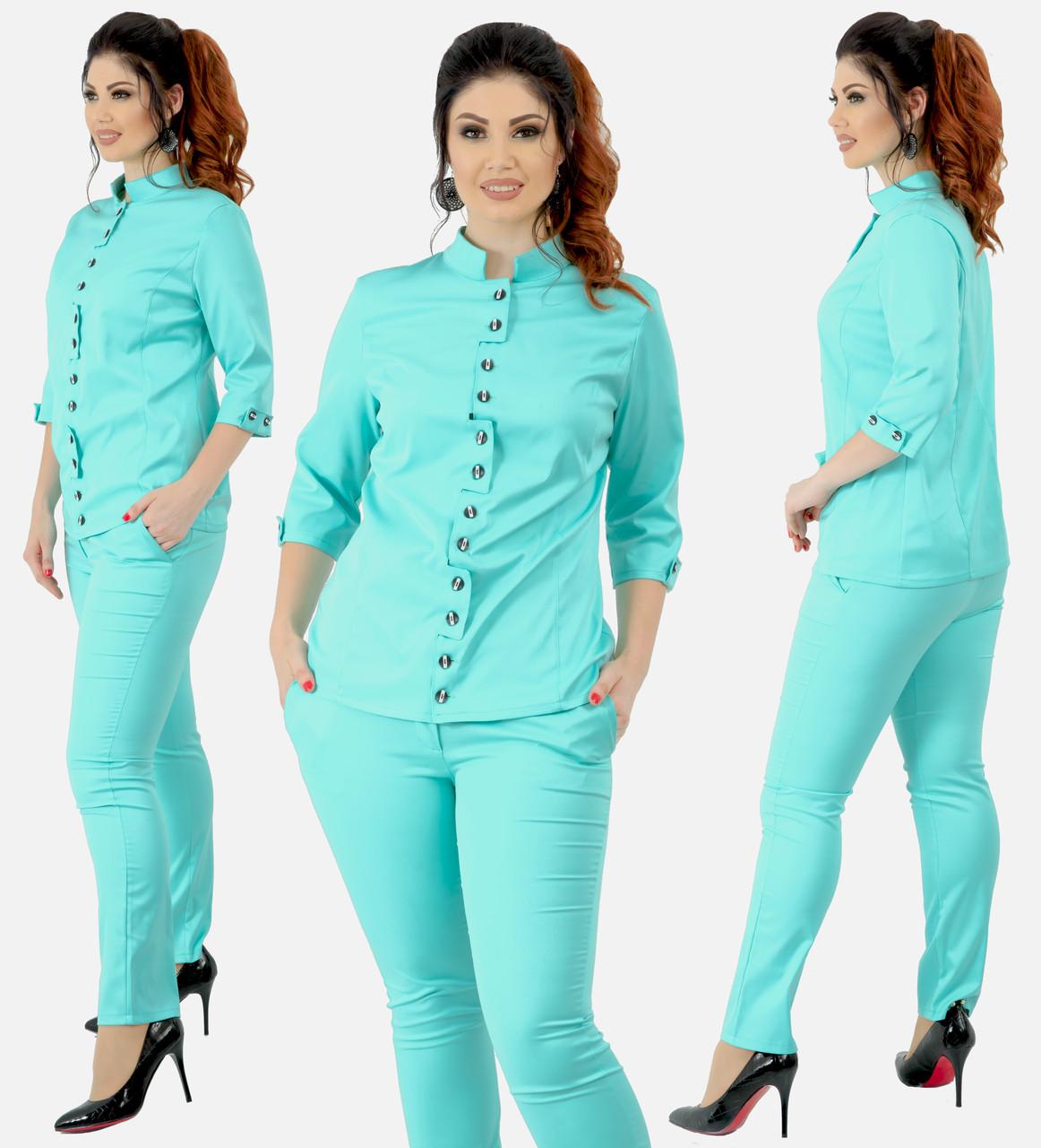 """Женский костюм """"Луиза"""" большие размеры от 48 до 54 блузка и брюки мята код 92/9002"""