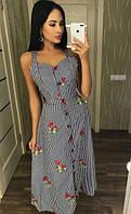 Летнее платье-сарафан с вышивкой миди 88327, фото 1