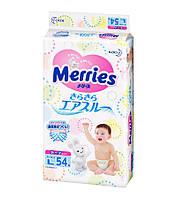 Детские подгузники Merries размер L 9-14 кг 54 штуки