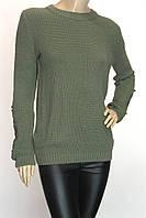 Жіночий джемпер кофта светр хакі з мереживом