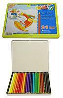 """Цветные карандаши Colorite 24 цвета №1100-24TN длинный """"MARCO"""" ( шестигранные в металлической упаковке) (уп6\36)"""