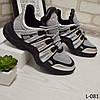 Кроссовки женские стильные и удобные, черные+серебро, женская обувь