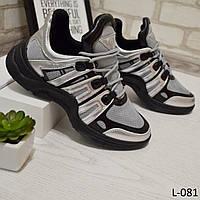 Кроссовки женские стильные и удобные, черные+серебро, женская обувь, фото 1