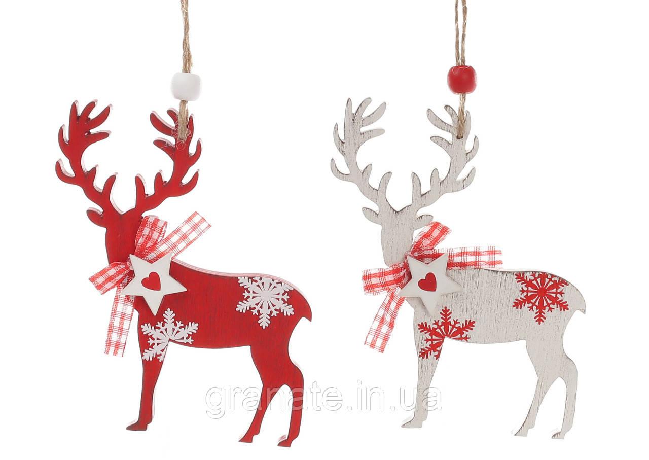 """Новогоднее украшение-подвеска """"Олени"""",  дерево 10 см, 2 вида 24 шт."""