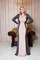 """Длинное вечернее платье силуэт """"Polin"""" с поясом и длинным рукавом (8 цветов)"""