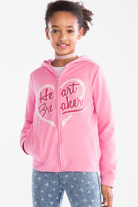 Кофта на молнии для девочки с сердечком из пайеток C&A Германия Размер 146-152