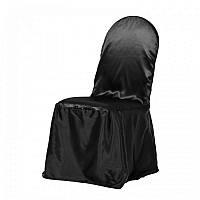 Чехол на стул Atteks атласный свадебный / банкетный черный - 1309