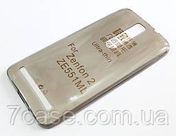 Чехол для Asus Zenfone 2 ZE550ML / ZE551ML силиконовый ультратонкий прозрачный серый