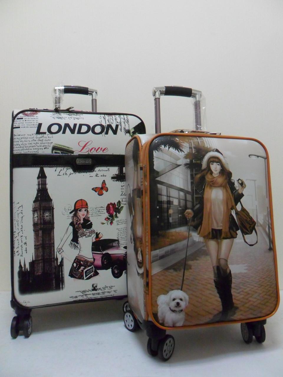 """Чемоданы 4-колесные из искусственной кожи с портпледным отделом """"Леди в Лондоне""""."""