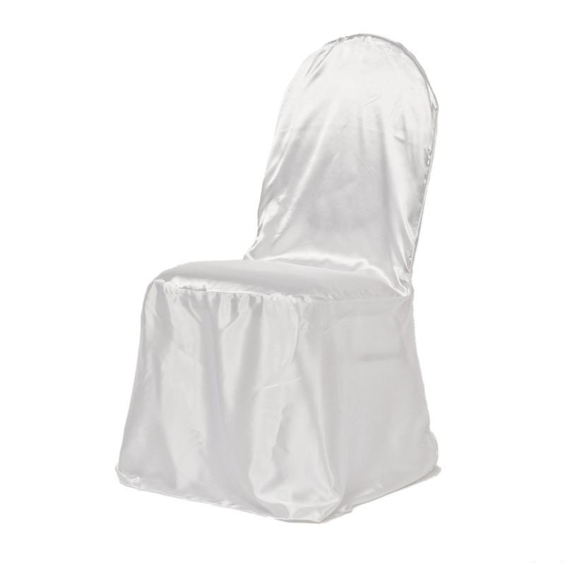 Чехол на стул Atteks атласный свадебный / банкетный белый - 1310